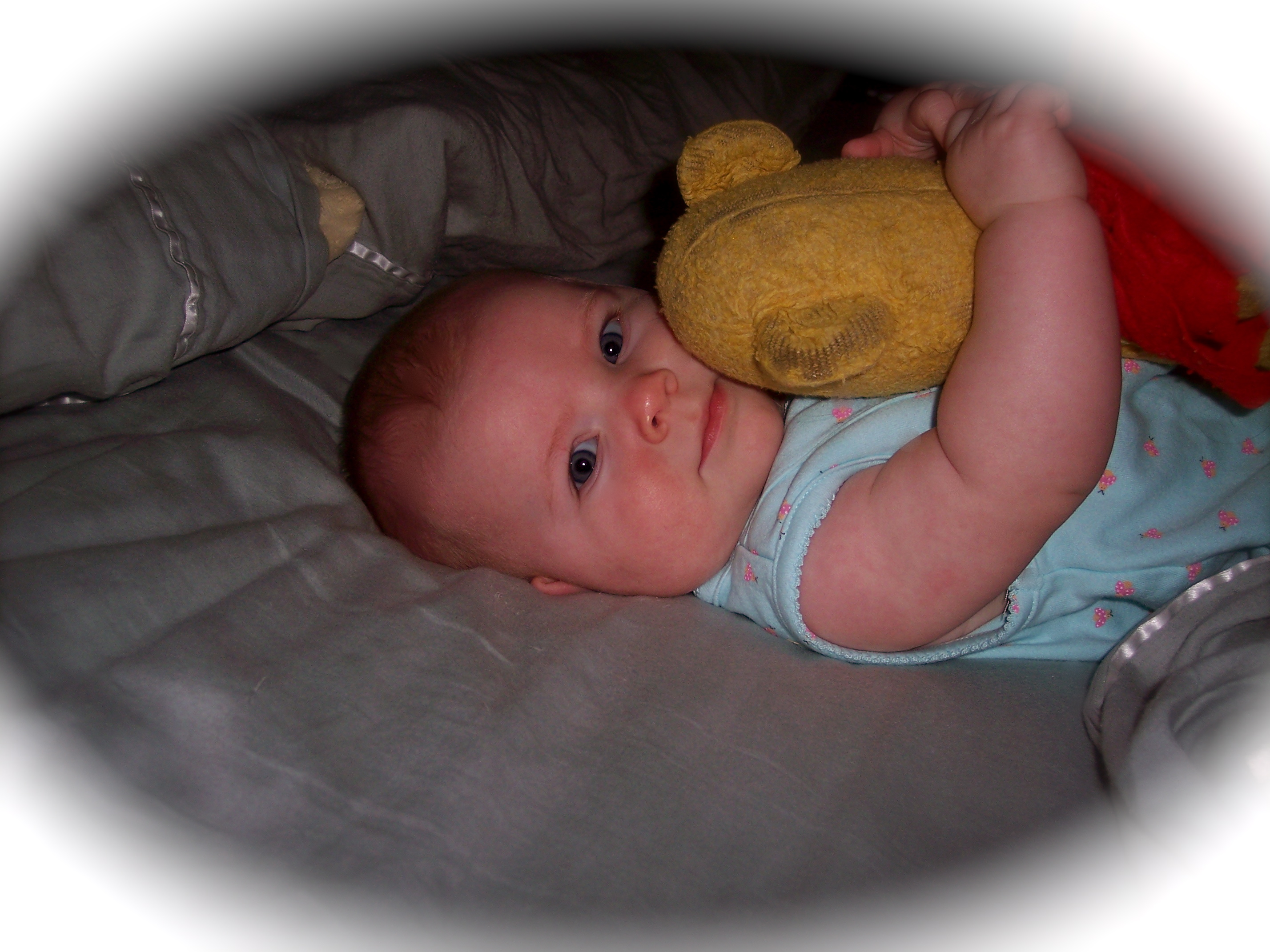 A happy, colic-free baby who received infant massage